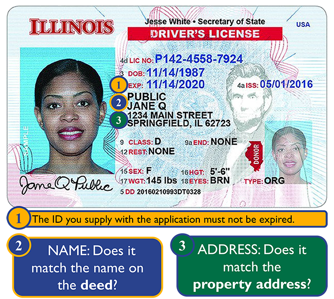 Photo ID: check the date of issue, the name, and address.