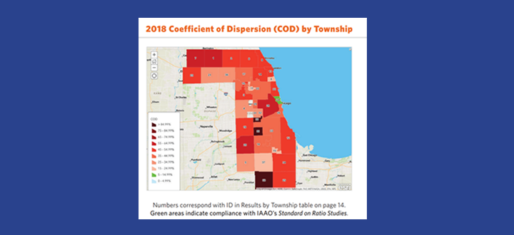 Map showing that 2018 commercial reassessments lacked uniformity throughout the county.