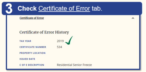 Step 3: Scroll down to the Certificate of Error tab.