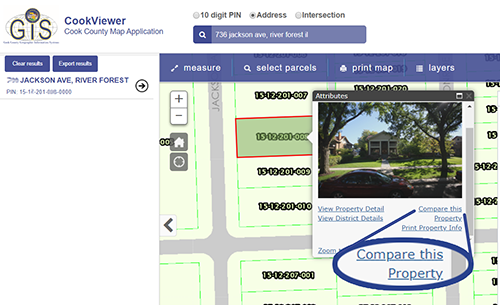 First, find your property on cook viewer. Then click on it. Then click on comparable properties.