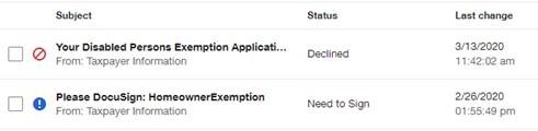 Image showing status of online exemption applications.