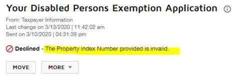 Image showing that clicking on an exemption will show more information about the status reason.